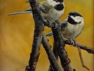 Chickadee Autumn is a watercolor painting by Rebecca Latham
