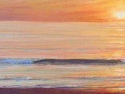 Summer Sunrise is a pastel by Lori Goll. This is a sunrise on the beach at Nags Head