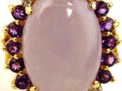 Jadeite, Amethyst & Diamond Ring 14kt Yellow Gold