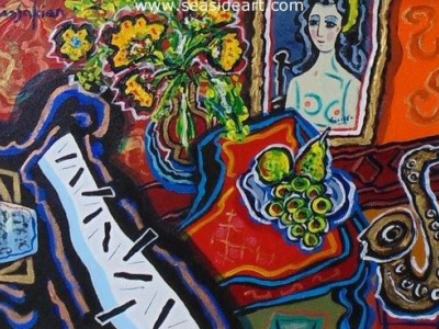 Pablo's Sax in the Sixth is an original acrylic painting by Berge Missakian