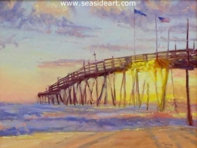Morning Glory is an original oil painting of the Nags Head Fishing Pier by Suzanne Goodwin Morris