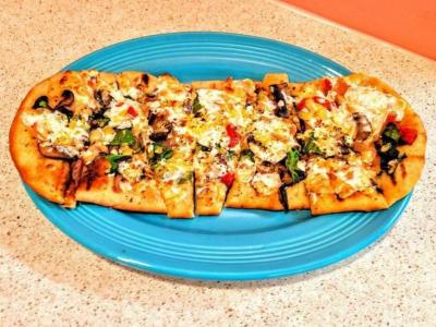 Pizza at Beachcomber's Tiki Hut in KDH, NC