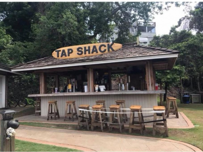 Bar at Tap Shack in Duck, NC behind Coastal Cravings