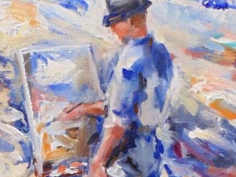 An Artist Painting at the Beach is an original oil painting on canvas by Gregory Kavalec.