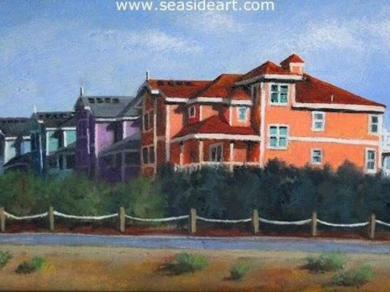 Rainbow Row is a miniature oil painting by Debra Keirce